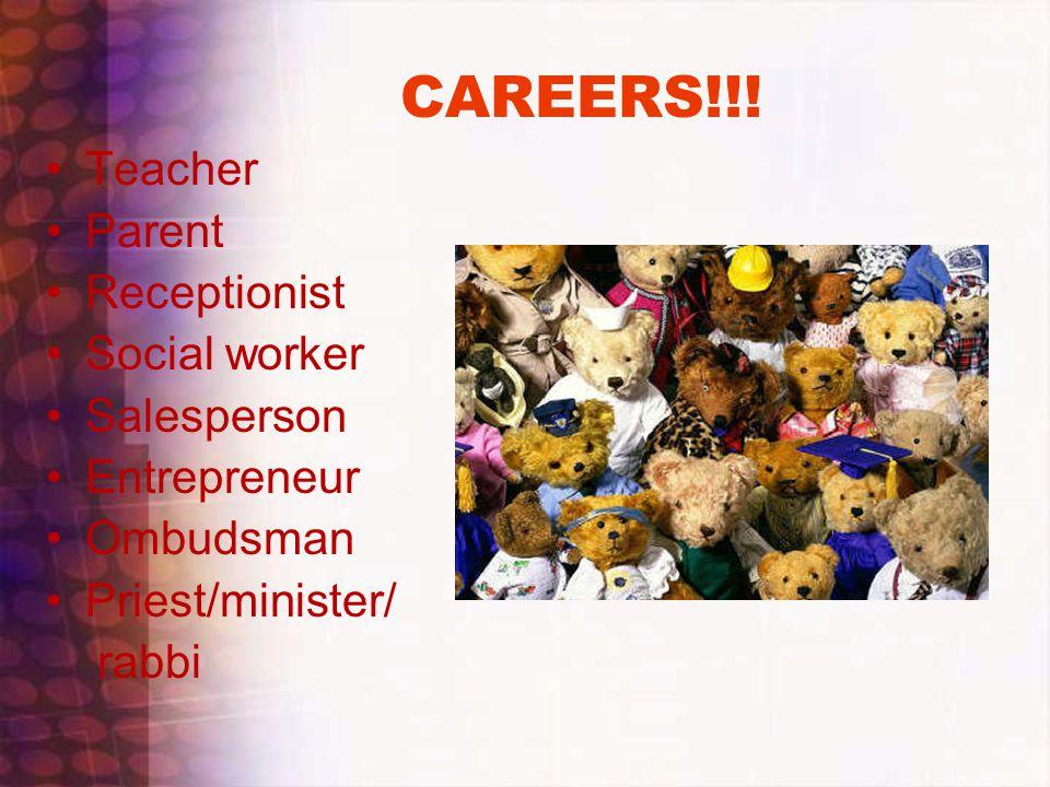 CAREERS!!! Teacher Parent Receptionist Social worker Salesperson Entrepreneur Ombudsman Priest/minister/ rabbi