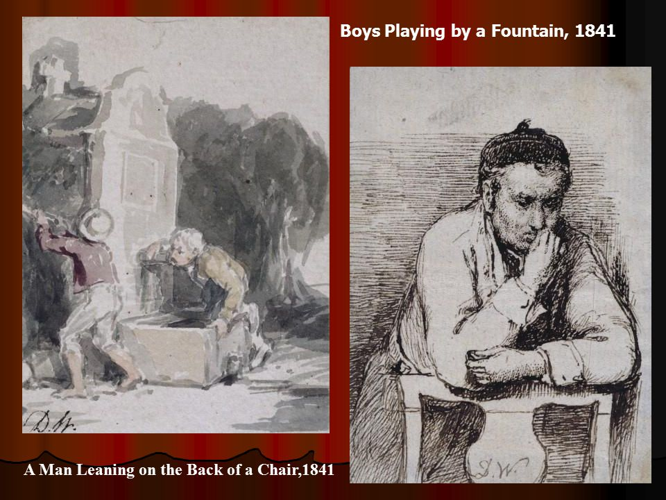 Boys Playing by a Fountain, 1841 A Man Leaning on the Back of a Chair,1841
