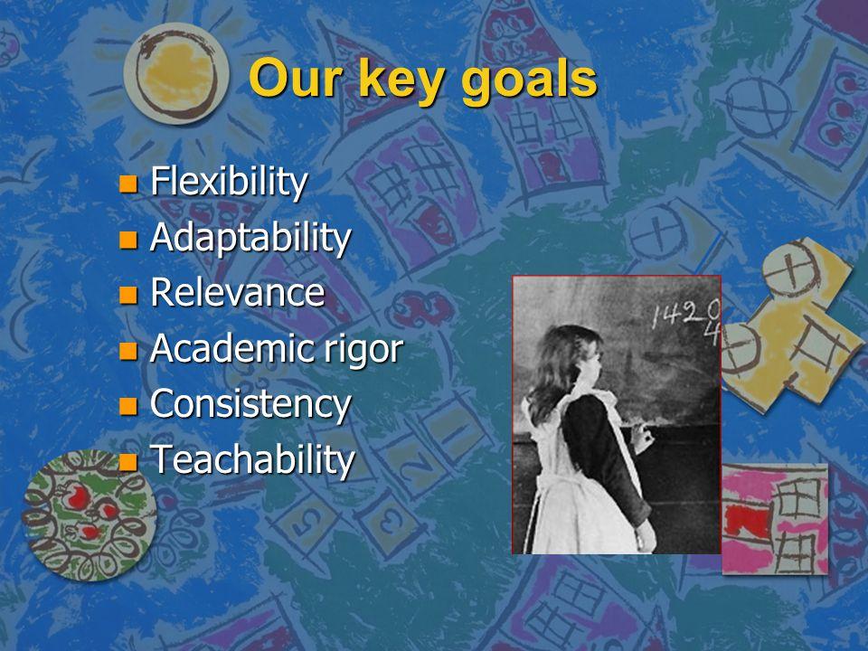 Our key goals n Flexibility n Adaptability n Relevance n Academic rigor n Consistency n Teachability