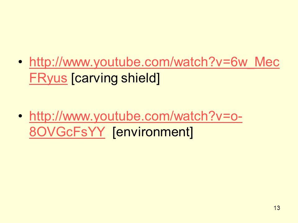 13 http://www.youtube.com/watch?v=6w_Mec FRyus [carving shield]http://www.youtube.com/watch?v=6w_Mec FRyus http://www.youtube.com/watch?v=o- 8OVGcFsYY [environment]http://www.youtube.com/watch?v=o- 8OVGcFsYY