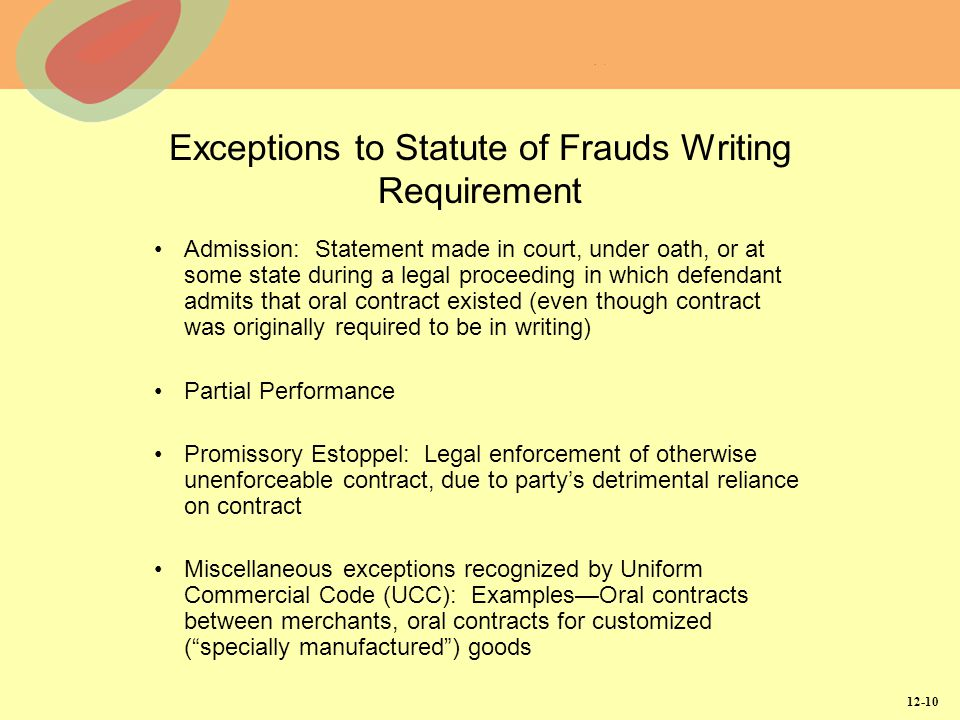 12-10 Exceptions to Statute of Frauds Writing Requirement Admission: Statement made in court, under oath, or at some state during a legal proceeding i