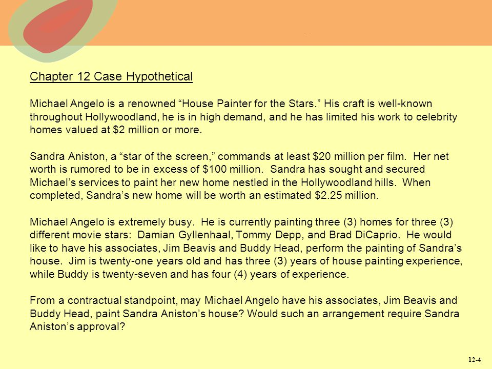 "12-4 Chapter 12 Case Hypothetical Michael Angelo is a renowned ""House Painter for the Stars."" His craft is well-known throughout Hollywoodland, he is"