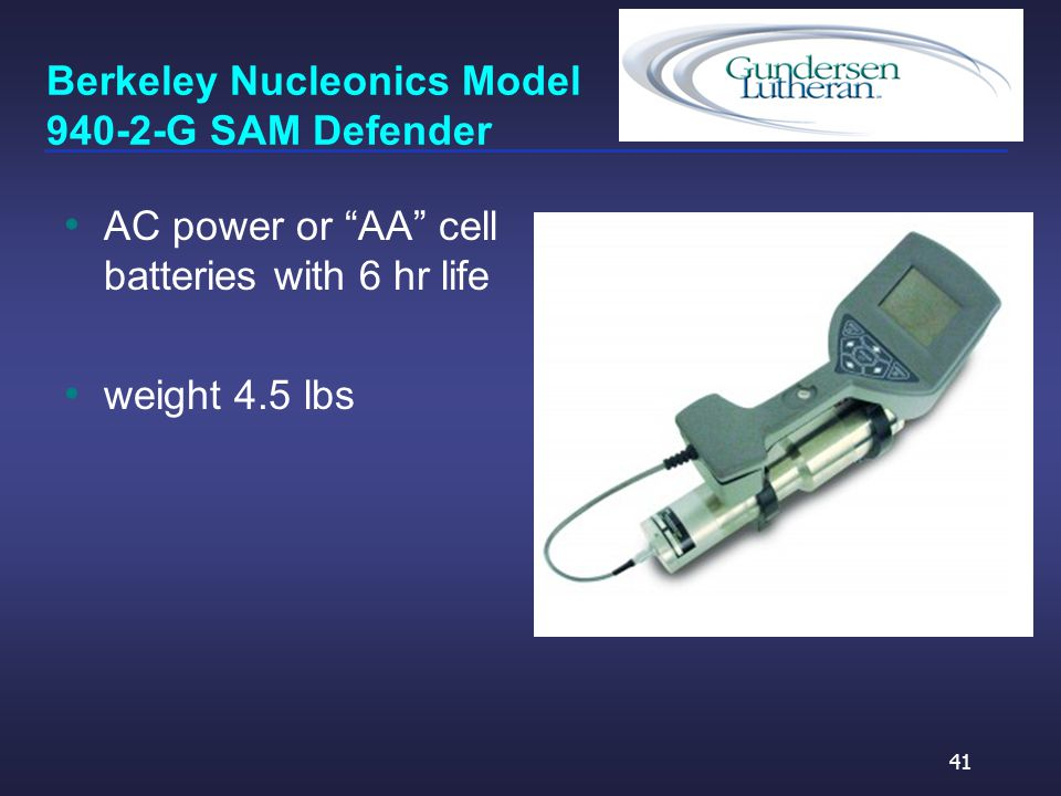 Berkeley Nucleonics Model 940-2-G SAM Defender AC power or AA cell batteries with 6 hr life weight 4.5 lbs 41