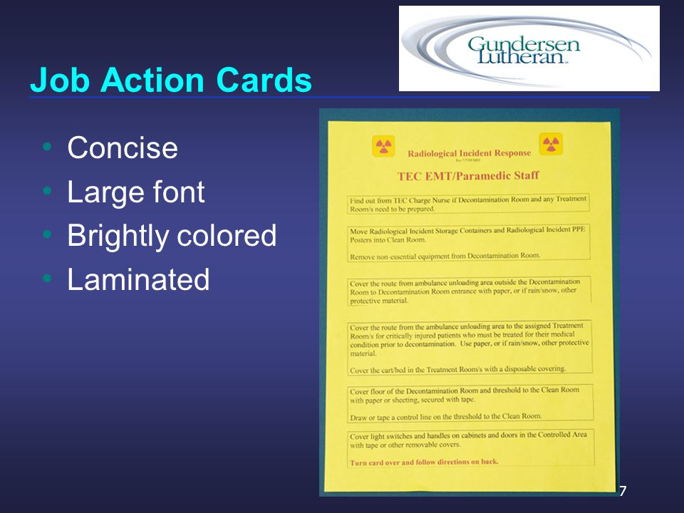 Job Action Cards Concise Large font Brightly colored Laminated 57