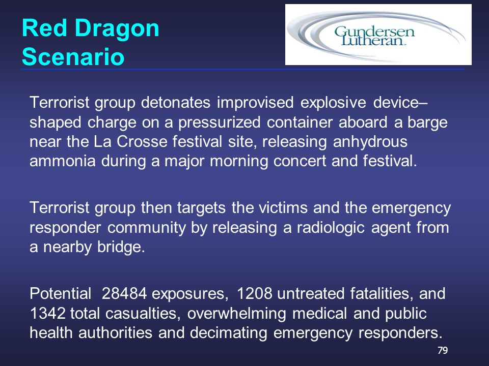 Red Dragon Scenario Terrorist group detonates improvised explosive device– shaped charge on a pressurized container aboard a barge near the La Crosse festival site, releasing anhydrous ammonia during a major morning concert and festival.