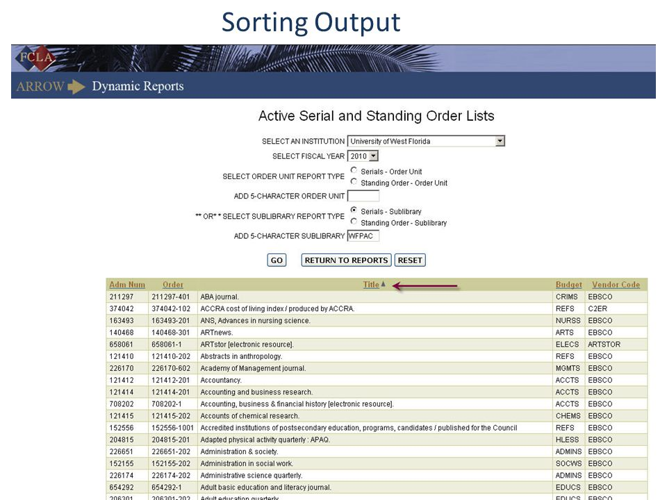 Sorting Output