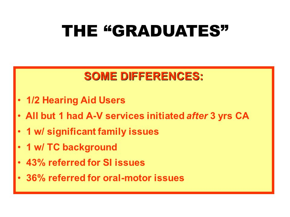 THE GRADUATES SOME DIFFERENCES: 1/2 Hearing Aid Users All but 1 had A-V services initiated after 3 yrs CA 1 w/ significant family issues 1 w/ TC background 43% referred for SI issues 36% referred for oral-motor issues