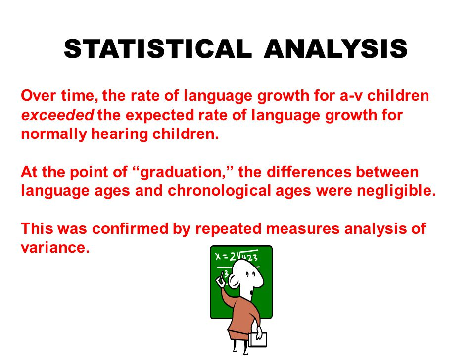 STATISTICAL ANALYSIS Over time, the rate of language growth for a-v children exceeded the expected rate of language growth for normally hearing children.