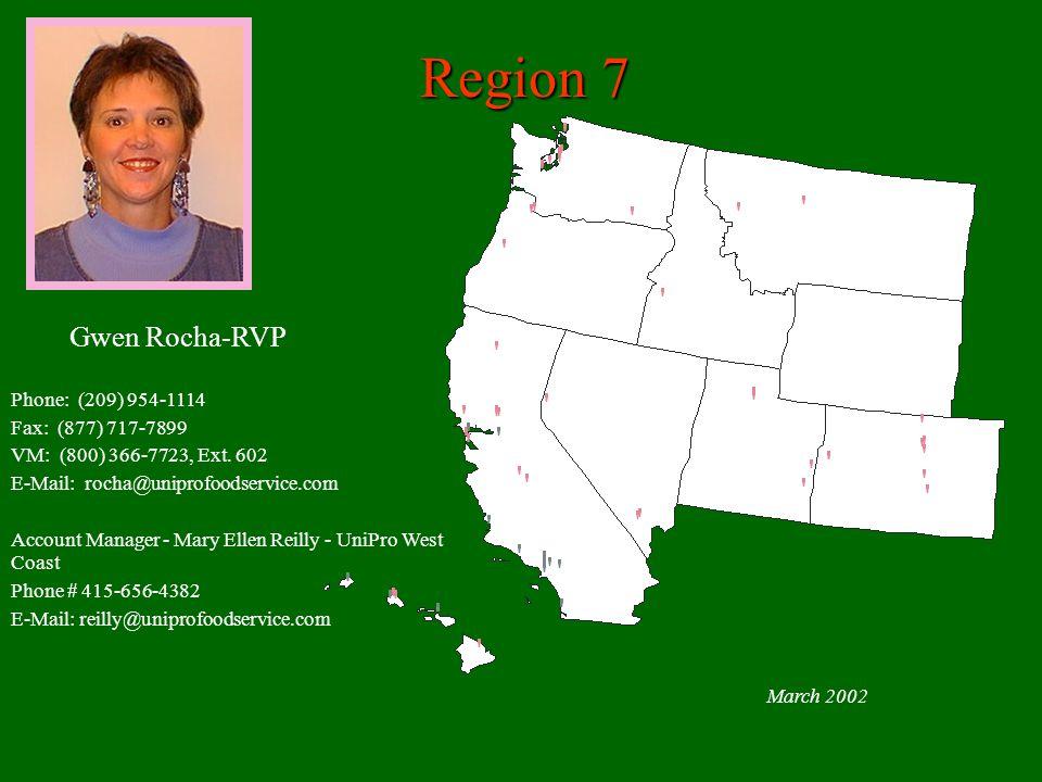 Region 7 March 2002 Gwen Rocha-RVP Phone: (209) 954-1114 Fax: (877) 717-7899 VM: (800) 366-7723, Ext.