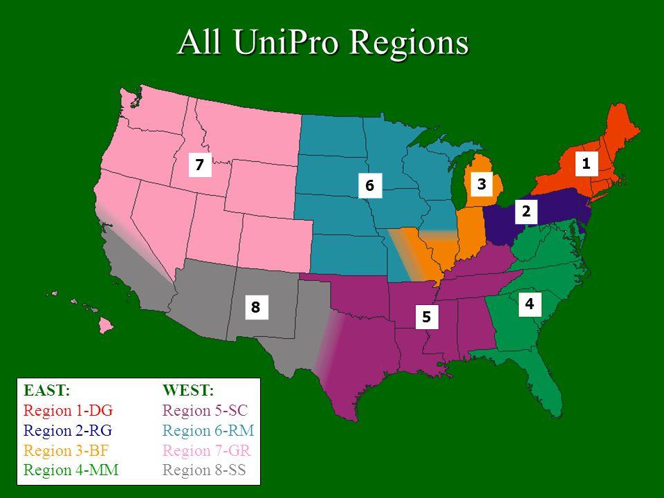 All UniPro Regions EAST: Region 1-DG Region 2-RG Region 3-BF Region 4-MM WEST: Region 5-SC Region 6-RM Region 7-GR Region 8-SS 2 4 5 6 7 8 3 1