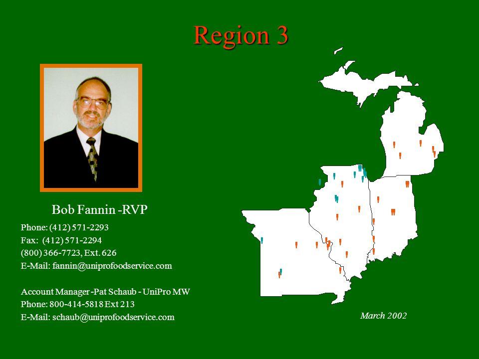 Region 3 March 2002 Bob Fannin -RVP Phone: (412) 571-2293 Fax: (412) 571-2294 (800) 366-7723, Ext.