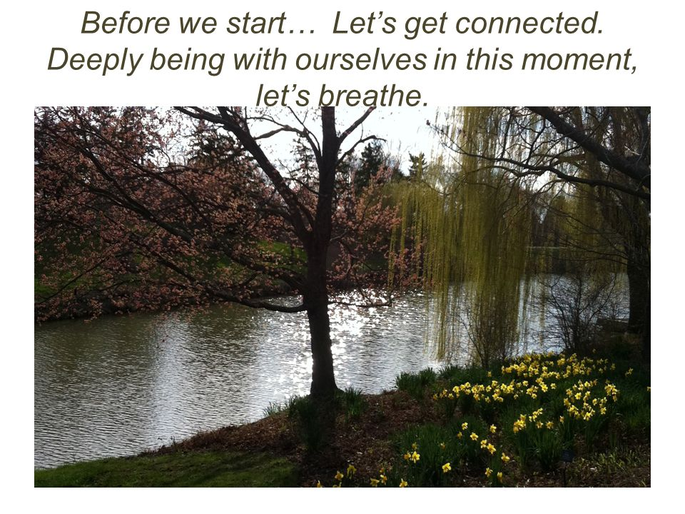Before we start… Let's get connected. Deeply being with ourselves in this moment, let's breathe.