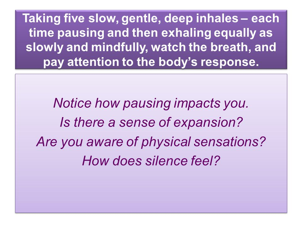 Taking five slow, gentle, deep inhales – each time pausing and then exhaling equally as slowly and mindfully, watch the breath, and pay attention to the body's response.