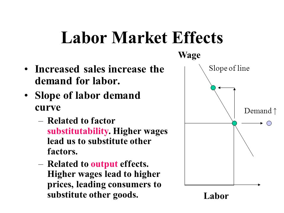 Labor Market Effects Increased sales increase the demand for labor.