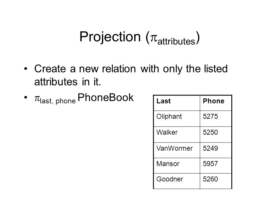 Projection (  attributes ) Create a new relation with only the listed attributes in it.