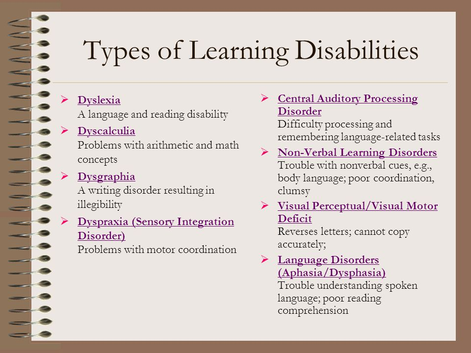 Types of Learning Disabilities  Dyslexia A language and reading disability Dyslexia  Dyscalculia Problems with arithmetic and math concepts Dyscalcu
