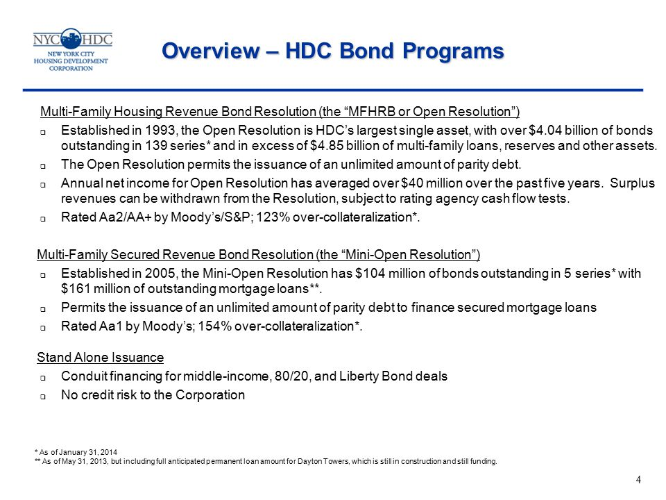 Multi-Family Housing Revenue Bond Resolution (the MFHRB or Open Resolution )  Established in 1993, the Open Resolution is HDC's largest single asset, with over $4.04 billion of bonds outstanding in 139 series* and in excess of $4.85 billion of multi-family loans, reserves and other assets.