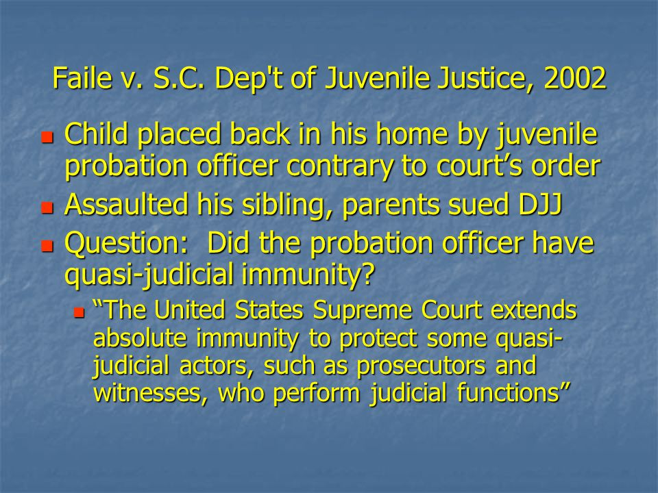 Faile v. S.C. Dep't of Juvenile Justice, 2002 Child placed back in his home by juvenile probation officer contrary to court's order Child placed back