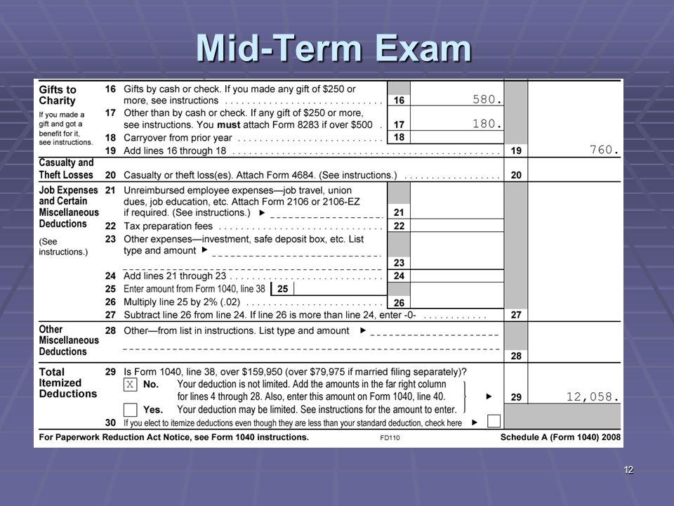 12 Mid-Term Exam