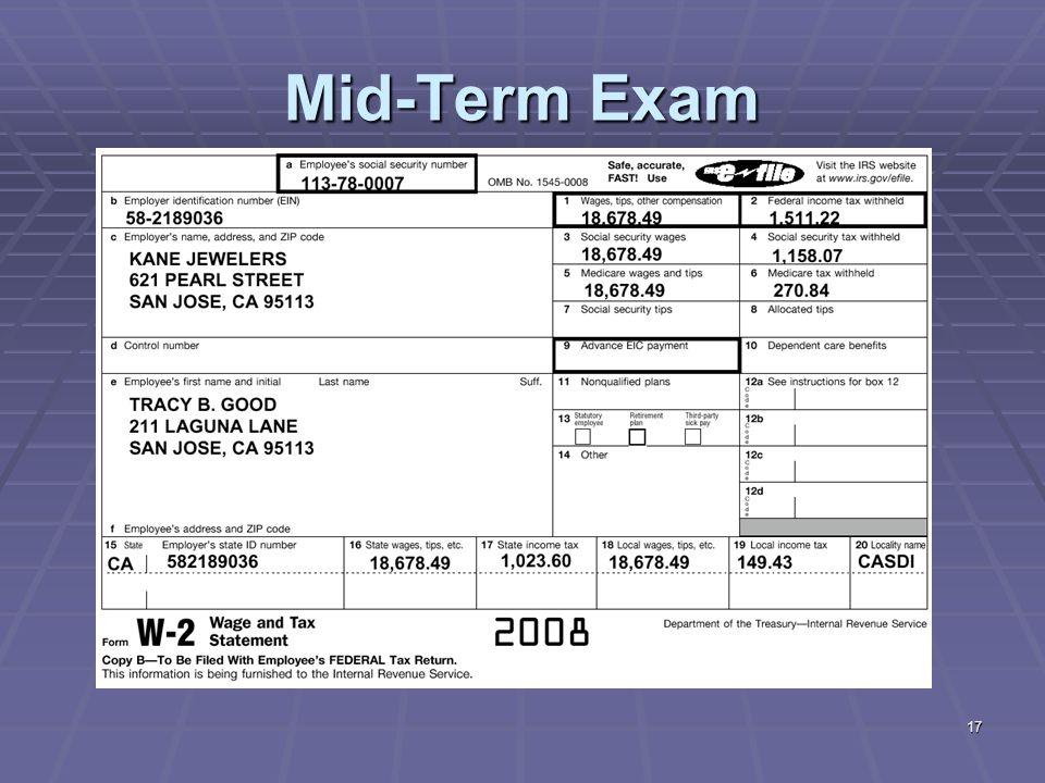 17 Mid-Term Exam