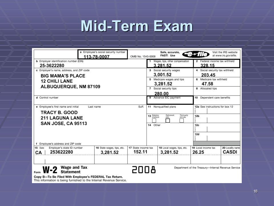 18 Mid-Term Exam