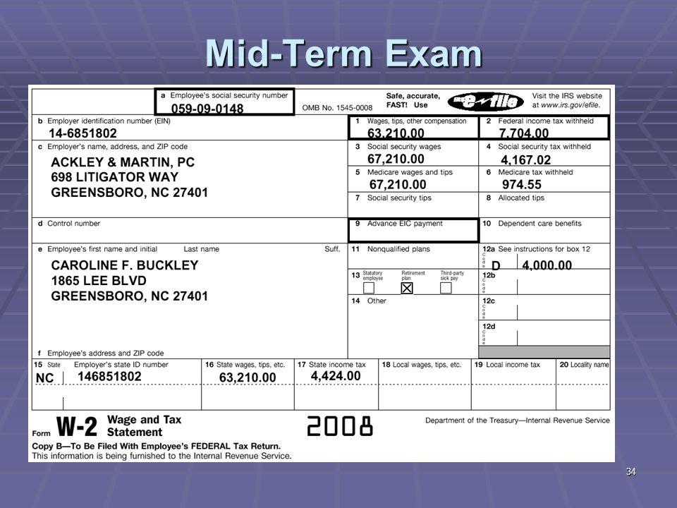 34 Mid-Term Exam