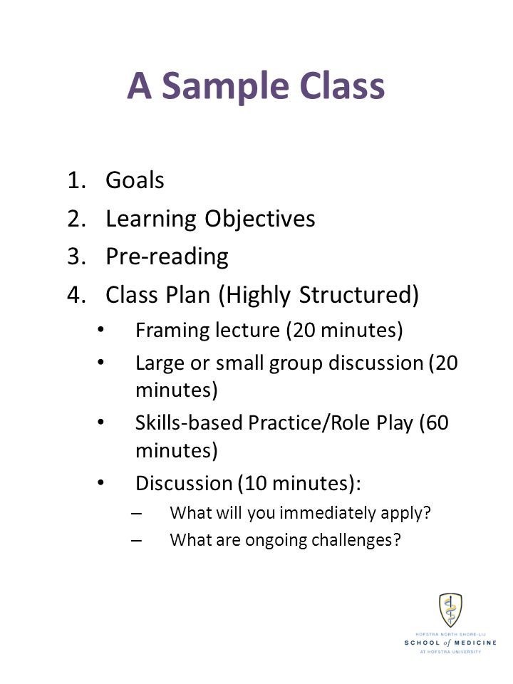 A Sample Class 1.Goals 2.Learning Objectives 3.Pre-reading 4.Class Plan (Highly Structured) Framing lecture (20 minutes) Large or small group discussi