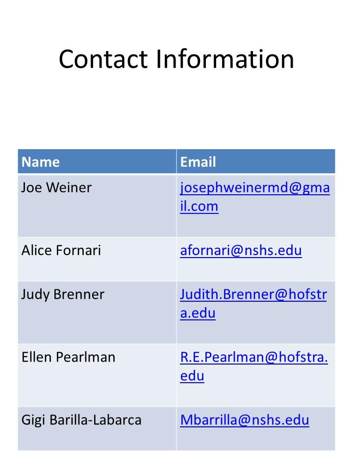 Contact Information NameEmail Joe Weinerjosephweinermd@gma il.com Alice Fornariafornari@nshs.edu Judy BrennerJudith.Brenner@hofstr a.edu Ellen Pearlma