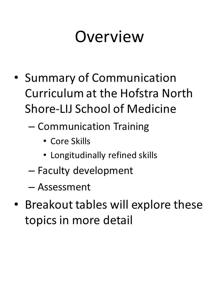 Overview Summary of Communication Curriculum at the Hofstra North Shore-LIJ School of Medicine – Communication Training Core Skills Longitudinally ref