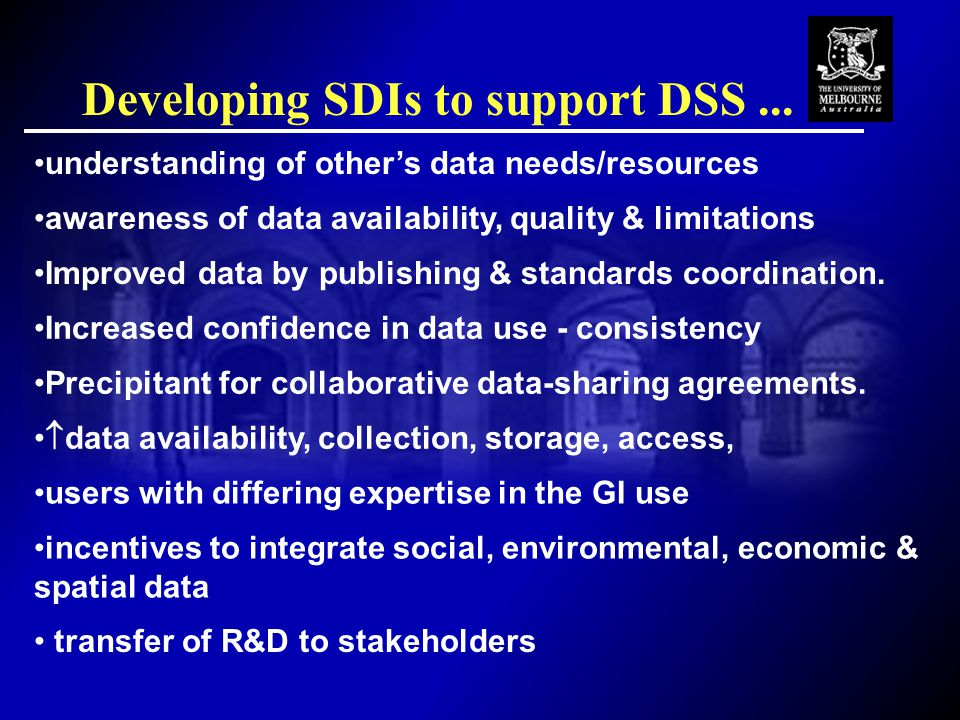 Developing SDIs to support DSS...