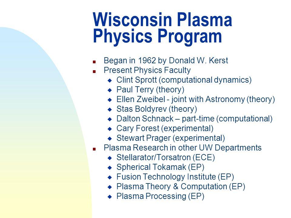 Plasma Physics Group n Composition u 7 faculty u 11 scientists u 9 postdocs u 28 graduate students u 27 support staff u + frequent and long-term visitors u ==> ~ 80 people total n Funding (~$8M year) n ~80 Ph.D.
