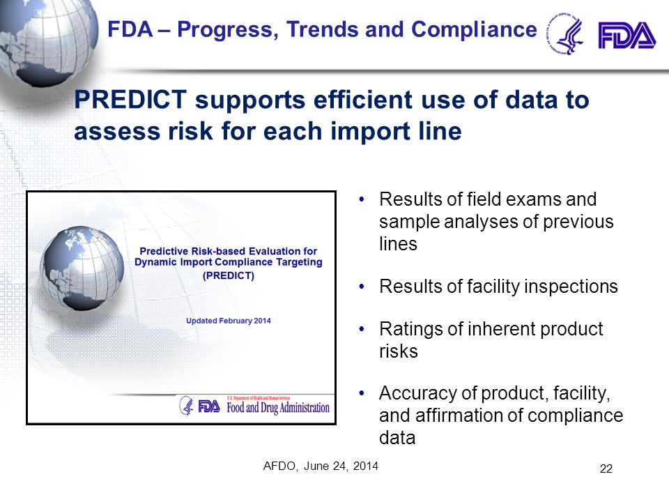 Results of field exams and sample analyses of previous lines Results of facility inspections Ratings of inherent product risks Accuracy of product, fa