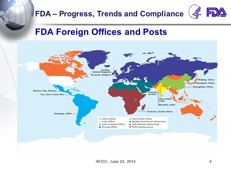 FDA Foreign Offices and Posts AFDO, June 24, 20144 FDA – Progress, Trends and Compliance