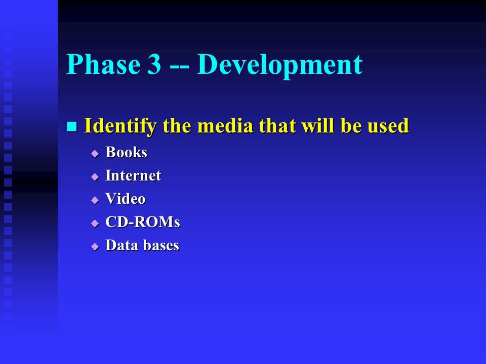Phase 3 -- Development Identify the media that will be used Identify the media that will be used  Books  Internet  Video  CD-ROMs  Data bases