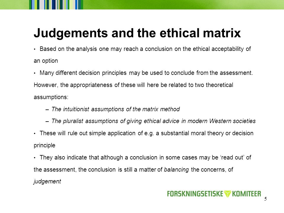 5 Judgements and the ethical matrix Based on the analysis one may reach a conclusion on the ethical acceptability of an option Many different decision principles may be used to conclude from the assessment.
