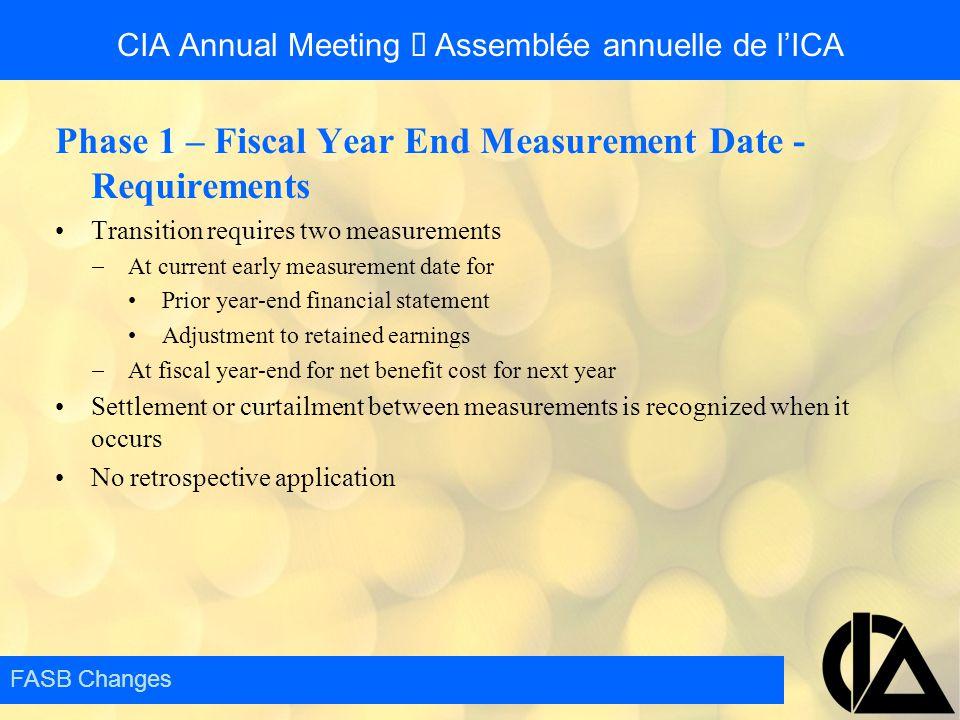 CIA Annual Meeting  Assemblée annuelle de l'ICA Phase 1 – Fiscal Year End Measurement Date - Requirements Transition requires two measurements  At c