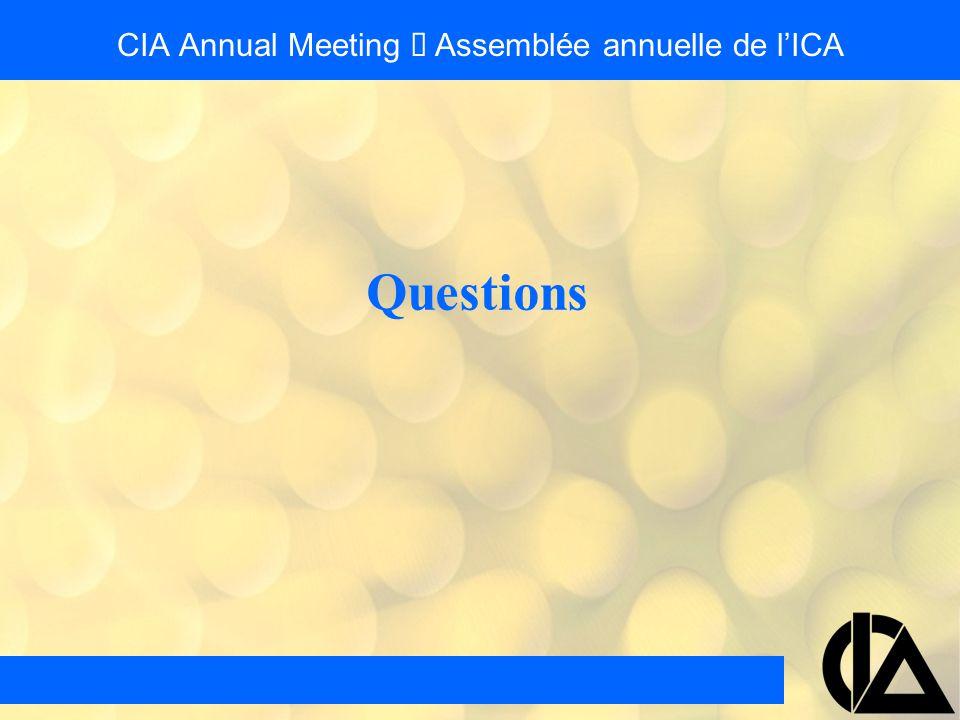 CIA Annual Meeting  Assemblée annuelle de l'ICA Questions