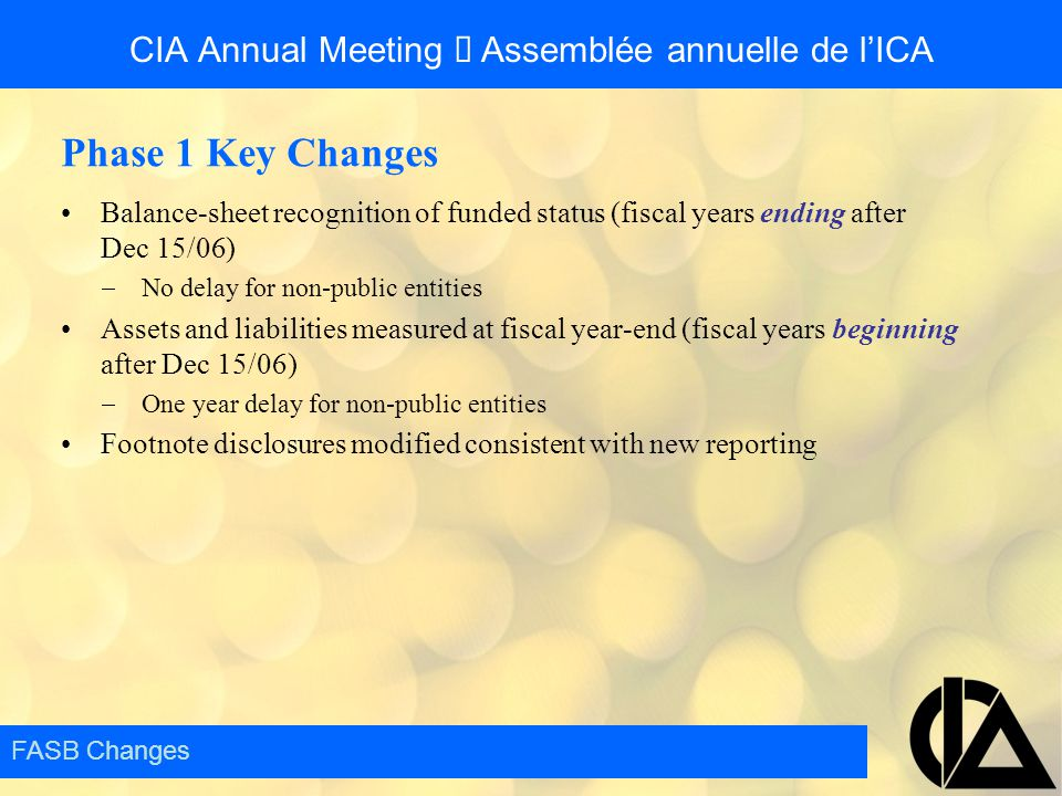 Phase 1 Key Changes Balance-sheet recognition of funded status (fiscal years ending after Dec 15/06)  No delay for non-public entities Assets and lia