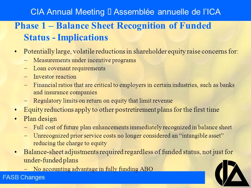 CIA Annual Meeting  Assemblée annuelle de l'ICA Phase 1 – Balance Sheet Recognition of Funded Status - Implications Potentially large, volatile reduc