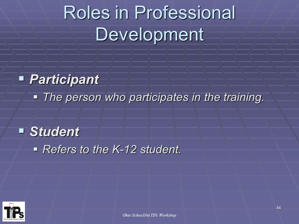 44 Ohio SchoolNet TIPs Workshop Roles in Professional Development  Participant  The person who participates in the training.
