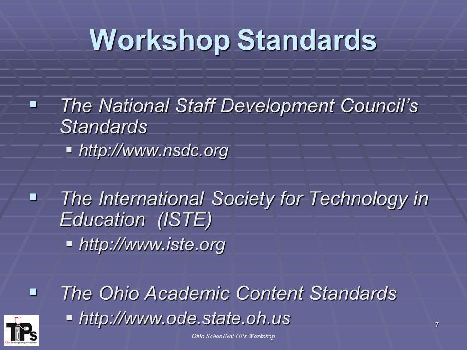 8 Ohio SchoolNet TIPs Workshop Workshop Objectives  Participants will...