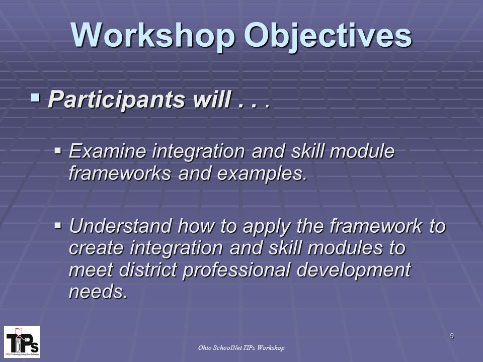 40 Ohio SchoolNet TIPs Workshop Technology & Learning Spectrum  Consider the following questions while viewing the scenario:  What is working in this classroom.