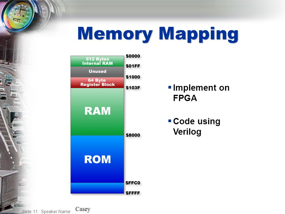 T122001010BAC Speaker Name Slide 11 Memory Mapping  Implement on FPGA  Code using Verilog Casey
