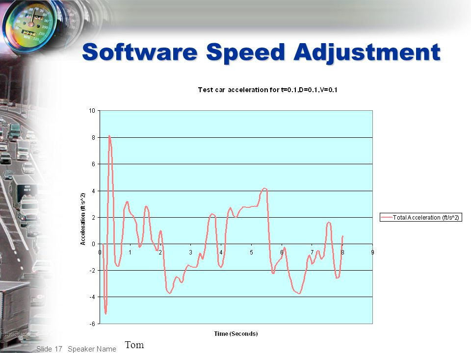 T122001010BAC Speaker Name Slide 17 Software Speed Adjustment Tom