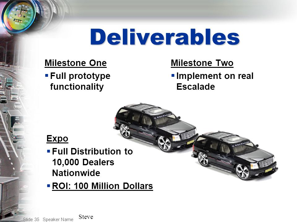 T122001010BAC Speaker Name Slide 35 Deliverables Milestone One  Full prototype functionality Milestone Two  Implement on real Escalade Expo  Full Distribution to 10,000 Dealers Nationwide  ROI: 100 Million Dollars Steve