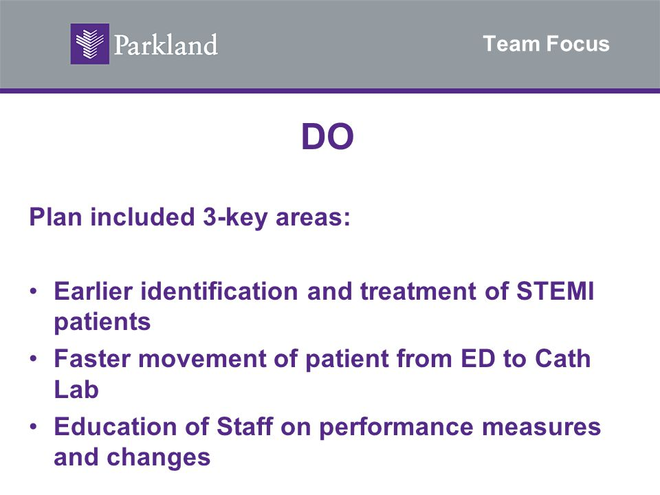 Team Focus DO Plan included 3-key areas: Earlier identification and treatment of STEMI patients Faster movement of patient from ED to Cath Lab Educati
