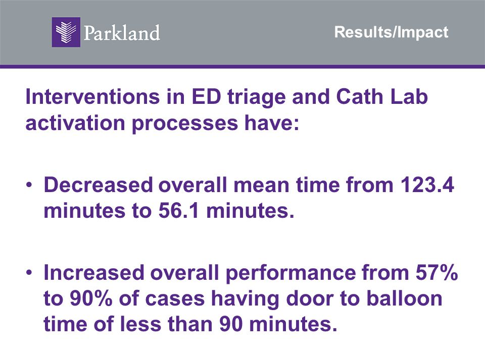 Results/Impact Interventions in ED triage and Cath Lab activation processes have: Decreased overall mean time from 123.4 minutes to 56.1 minutes. Incr