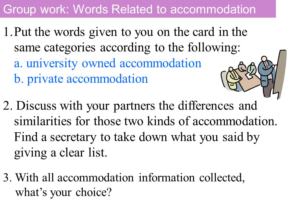 Group work: Words Related to accommodation 1.Put the words given to you on the card in the same categories according to the following: a. university o