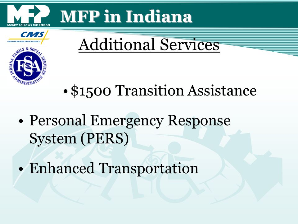 MFP in Indiana $1500 Transition Assistance Personal Emergency Response System (PERS) Enhanced Transportation Additional Services