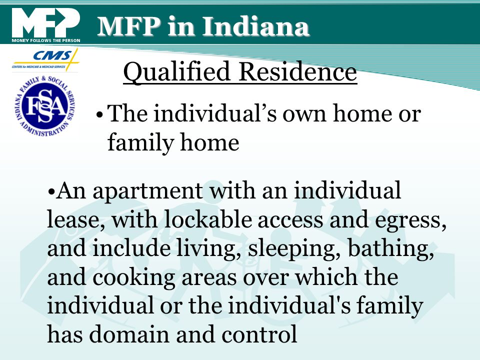 MFP in Indiana The individual's own home or family home An apartment with an individual lease, with lockable access and egress, and include living, sl